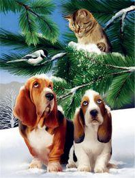 Wholesale Cross Stitch Dogs - Diamond embroidery animal cute dog cat snow diy diamond painting cross stitch kit resin full square diamond mosaic home decoration zxh1592