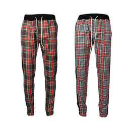 Wholesale Fashion Scotland - 2018 New Best version men side zipper Scotland plaid Joining together Men pants justin bieber Fashion Casual jogger Sweatpants
