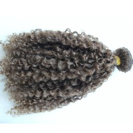 Wholesale Double Drawn Hair Extensions Brown - New Brazilian Human Virgin Remy Medium Brown Hair Kinky Curly Hair Weft Soft Double Drawn Hair Extensions Unprocessed Color