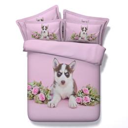 Hundedruck 3d bettbezug 3/4 pc rosa rosen bettdecken für mädchen königin twin könig voller größen bettwäsche-sets frauen 500tc bettwäsche von Fabrikanten