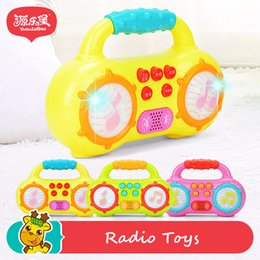 Wholesale Mini Drum Toy - Yuanlebao Baby Music Lighting Mini Radio Toys Hand Drum Toy with Flash Lights for Kids Early Learning
