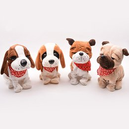 Wholesale Stuffed Animal Heads - Electric Pets Plush Toy Stuffed Doll Cute Big Head Animal Model Baby Kids Voice Sensative Toy 2018 Hot Birthday Gifts