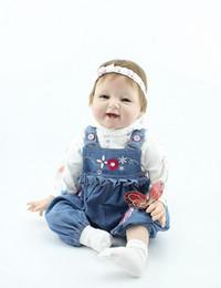 Wholesale Wholesale Reborn Baby Dolls - 22 Inches Silicone Vinyl Reborn Baby Dolls Boy Smiling Real Photo Handmade Boneca Reborn Baby Alive Toys Girls Birthday Gift
