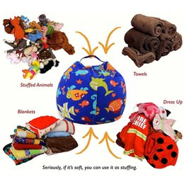 Wholesale Fabric Beanbag - Kids Storage Bean Bags 16'' 18'' 24'' Plush Toys Beanbag Chair Bedroom Stuffed Animal Room Mats Portable Clothes Storage Bag 3002061
