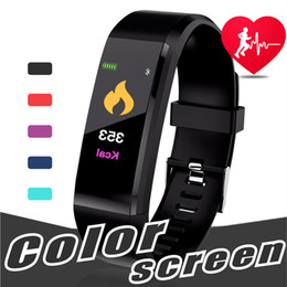 Wholesale German Greens - Original Color LCD Screen ID115 Plus Smart Bracelet Fitness Tracker Pedometer Watch Band Heart Rate Blood Pressure Monitor Smart Wristband