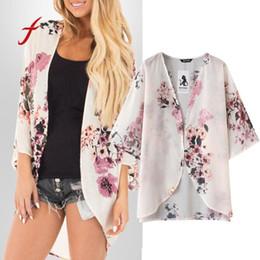 2019 kimono con flecos Feitong Blusa de gasa de la vendimia de las mujeres Kimono Cardigan impreso con flecos dobladillo del cordón chal de gran tamaño Tops blusas más el tamaño rebajas kimono con flecos