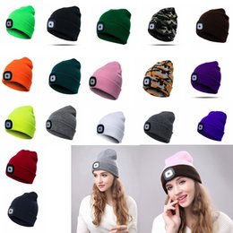 681df2af LED Light Hat Winter Warm button battery type Beanies Elasticity Knitted hat  For Men And Women Outdoor Beanie ball caps GGA1016 affordable types men caps