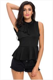 2020 camicie femminili Maglietta sexy senza maniche a balze con scollo t-shirt da donna top in pelle stampata Lady 1805036 camicie femminili economici
