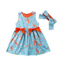 Laranja tutu vestido meninas verão on-line-Raposa animal bonito crianças meninas orange blueprincess vestidos sem mangas bowknot vestidos tutu bebê menina roupas 12M-6Y alta qualidade produtos de verão