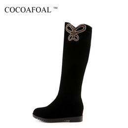 ce43ef9af4 Botas altas de caña alta Ecuestre para mujer COCOAFOAL Botas altas de caña  alta con zapatos de moda Otoño Invierno Negro