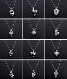 Wholesale Zodiac Sign Charms Wholesale - New Essential Oil Diffuser Cages Locket Necklace Hollow Out 12 Zodiac Signs Pendant Necklace DIY Pearls Lava Stone Jewelry