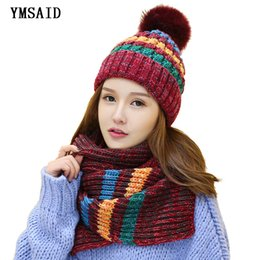 2050ef796 Ymsaid 2018 winter Hot Sale New Fashion 1Set Women Warm Woolen Knit Hood Scarf  Shawl Caps Hats Suit Thickened knitted hat Y18102210