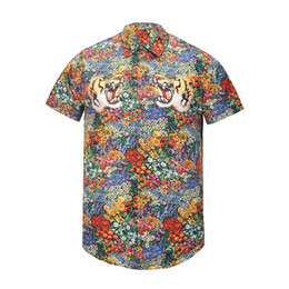 Wholesale Ethnic Print Shirt - Wholesale 2018 spring and summer new 3D ethnic floral tiger head printing casual men's short-sleeved shirt Medusa fashion casual shirt tide