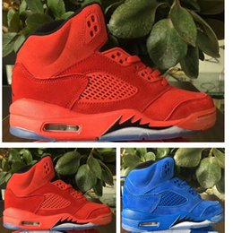 Wholesale Media Suit - Air 5S Trainer Retro V 5 Flight Suit toro Kids basketball shoes Red Blue Suede children athletic 5s sports Toldder sneaker