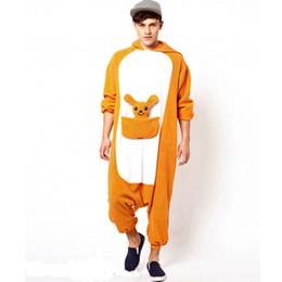 Wholesale kangaroo adult costume - Winter Adult Onesie Pajamas Anime Costume Kangaroo Sleepwear Animal Pajamas Women pajamas Men Onesie Polar Fleece Sleepwear