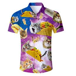 2019 i pantaloncini dei galaxy Camicia Uomo Eur Size 2018 New Fashion Cat Space Galaxy 3D stampato camicia hawaiana maschio manica corta Slim Fit Camicie vestiti estivi i pantaloncini dei galaxy economici