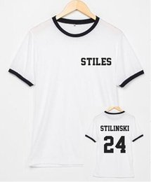 ringer tees Promo Codes - Teen Wolf STILES STILINSKI 24 ringer tees tumblr shirts Cotton tops for women men t shirt graphic tshirts streetwear t-Shirt