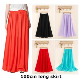 673ce016c78 Cheap price High quality Fashion Female Skirt Candy Color Dropped Elastic  Waist Chiffon Full Long Maxi Skirts For Women 100cm