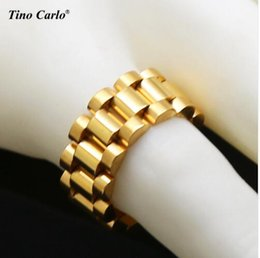 Wholesale Mens Stainless Rings - New Stainless Steel Golden Link Ring Hiphop Mens Watchband Style President star crown with logo star ring