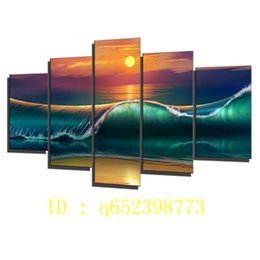 Wholesale Ocean Painting Piece - Beach,sunset Waves Sea Ocean,5 Pieces HD Canvas Printing New Home Decoration Art Painting  Unframed   Framed