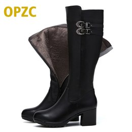Wholesale Tall Canister Boots - 2017 Women's warm winter boots, women's genuine leather boots, tall canister boots, motorcycle boots women,