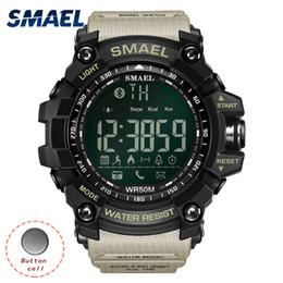 Wholesale Sport Watches Running - SMAEL Digital Wristwatches Waterproof Fashion Genuine LED Display Smart Mens LED Watches Running 1617B Men Bluetooth Watch Sport