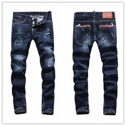 Wholesale 22 Zipper - 22 color High Fashion Classic Jeans Men Runway Biker Skinny Slim Denim Trousers Homme Cowboy Famous Brand Zipper Designer