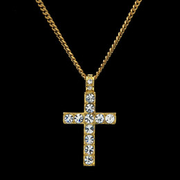 Wholesale Hip Hop Jewelry Women - Men Women Necklaces Pandents Hot Fashion Hip Hop Bling Rhinestone Crystal Cross Pendant Necklace 2018 Delicate Jewelry Gift 162648
