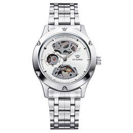 Relógios do ouyawei on-line-OUYAWEI masculino rodada de aço inoxidável banda de prata oco branco mostrador prateado Bezel relógios mecânicos