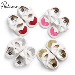 Wholesale Kid Sequin Ties - 2018 Brand New Newborn Toddler Infant Shoes PU Leather Baby Kid Girl Soft Prewalker Shoes Fringe Soled Sequins Heart Bow
