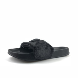 Wholesale Rubber Slippers - 2018 Leadcat Fenty Rihanna Faux Fur Slippers Women Indoor Sandals Girls Fashion Scuffs Pink Black White Grey Slides High Quality With Box