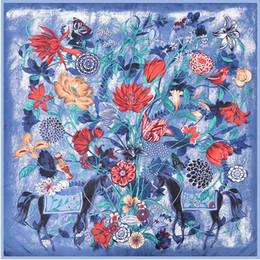 Femmes Cheval Imprimer Polyester Foulard De Luxe Bleu Sac Cou Bandana Châle Foulard Femme Printemps Carré Foulards En Soie 90 * 90 ? partir de fabricateur