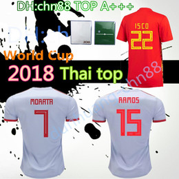 Wholesale jersey plus size shorts - Large XXL 3XL 4XL Jersey 2018 Spain Men's Soccer Shirt Plus Patch Free Shipping 18 19ISCOEspaña Spain Men's Large Size Soccer Jersey