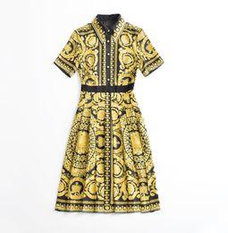 Wholesale short sleeve fancy dresses - fancy 2018 brand women's one piece dress brand designer dress floral print runway dresses short sleeve luxury dress 8728