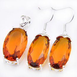 Wholesale Brazil Indians - Jewelry Sets Wholesale Holiday Jewelry Gift Oval Fire Brazil Citrine Crystal Gem 925 Sterling Silver Pendants Drop Earrings Jewelry Sets