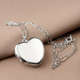 quadro colar de moldura coração Desconto Genuine Sterling Silver 925 Coração Forma Foto Quadro Medalhão Pingente de Colar Para As Mulheres Amantes Presente Do Dia Dos Namorados Livre