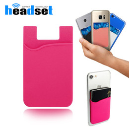 Wholesale silicone credit card case - Phone Card Holder Silicone Cell Phone Wallet Case Credit ID Card Holder Pocket Stick On 3M Adhesive with opp bag