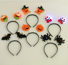Wholesale Lighted Halloween Bat - LED Light Up Hairband Headband Pumpkin Spider Bat Skull Flashing Party Xmas Gift Halloween Decoration YH216