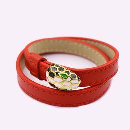 Canada Bijoux haut de gamme haut de gamme bijoux mode goutte à goutte uni bracelet en cuir multicolore double anneau tête de serpent bracelet 2018 cheap jewelry snake heads Offre