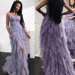 Wholesale pink tires - 2018 Beautiful Lilac Ruffles Tired Skirt Prom Dresses Sweetheart Spaghetti Straps Front Split Evening Gowns A Line Backless BA9242