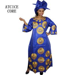 Африканские платья для женщин дизайн одежды новый африканский базин вышивка дизайн длинное платье с шарфом два шт. один комплект A243 # от Поставщики азиатская девушка воротник