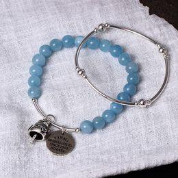 Wholesale Rope Cat - aquamarine bracelet 925 natural sea blue treasure hand string female sweet and lovely handmade fortune cat bracelet jewelry wholesale