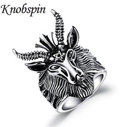 Wholesale Goat Big - whole saleVintage 316L Stainless Steel Big Goat Head Ring for Men Unique Biker Punk Animal Jewelry anel masculino US Size 7 8 9 10 11 12