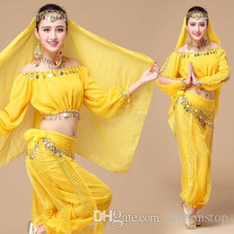 Wholesale Indian Dancing Clothes - Womens New Belly Dance Ethnic New Style Of Dance Clothes Clothing Costumes Set Indian Dancing Dress Clothes Top Pants Colorful Performance