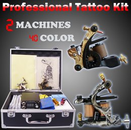 Wholesale Tattoo Machines Cases - tattoo machine 40 colors ink 50pcs needles tip grip power supply set complete tattoo kit professional toll box case