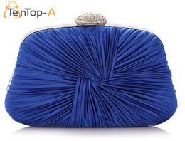 Wholesale Royal Purple Colors - TenTop-A New Women's Drape Satin Royal Blue Evening Bags Bride Pouch Dinner Bags Folded Satin Wrist Clutches With Chain 6 colors