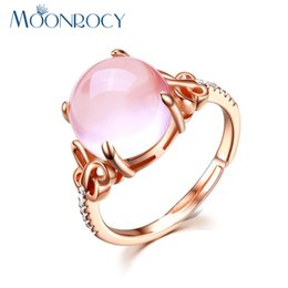 Wholesale Ring Quartz - MOONROCY Free Shipping Cubic Zirconia Rose Gold Color Ross Quartz Crystal Pink Opal Ring Jewelry Wholesale for Women