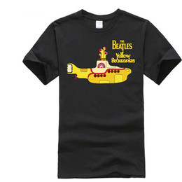 Wholesale roll drops - Classic men's rock & roll band Beatles We all live in a Yellow Submarine T-shirts O-neck big yard cotton boy's tee drop shipping