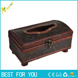 Wholesale Hot Tissue - New hot 1pc Tissue Box Elegant Crafted Wooden Antique Handmade Old Antique Paper Box Packing Holder 21*12*11cm