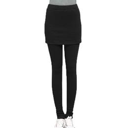 Wholesale Ankle Length Skirted Leggings - IMC Hot Women Autumn Winter Skirt Leggings Cotton Pleated Stretch Pants Black